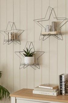 Set of 3 Silver Star Shelves