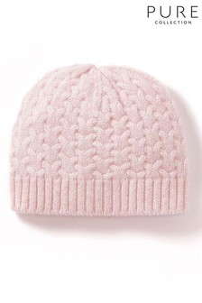 Pure Collection Pink Cashmere Baby Cable Hat