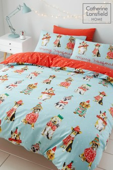 Catherine Lansfield Exclusive To Next Merry Woofmas Dog Christmas Duvet Cover and Pillowcase Set