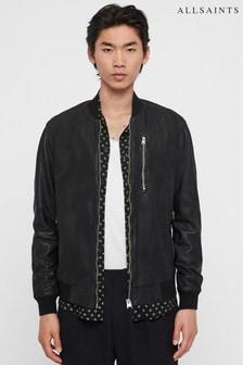 All Saints Black Kino Collarless Leather Jacket