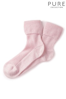 Pure Collection Pink Cashmere Bed Socks
