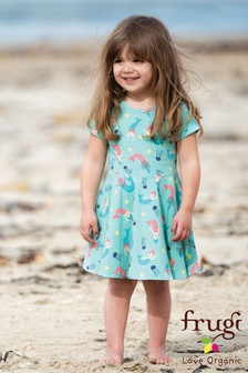 Frugi Organic Green Mermaid Jersey Skater Dress