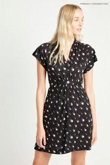 French Connection Black Romanoy Rose V-Neck Dress