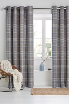 Ludlow Woven Check Eyelet Curtains