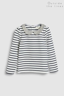 Outside The Lines Cream Stripe Collar Top