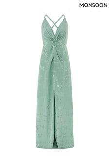 Monsoon Ladies Green Karlie Knot Front Jacquard Dress