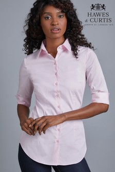 Hawes & Curtis Sleeve Pink Stretch Shirt