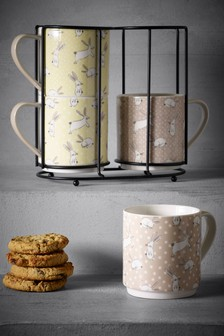 Set of 4 Bunny Stacking Mugs