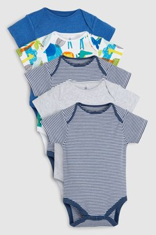 Safari Character Short Sleeve Bodysuits Five Pack (0mths-2yrs)