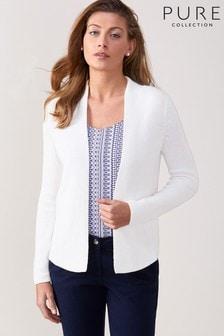 Pure Collection White Edge To Edge Cotton Cardigan