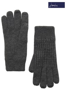 Joules Dark Grey Knitted Waffle Gloves
