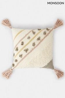 Monsoon Textured Shimmer Tassel Cushion