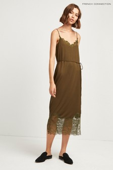 French Connection Green Rosemaria Lace Jersey Dress
