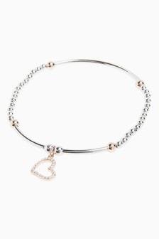 Beady Heart Charm Bracelet