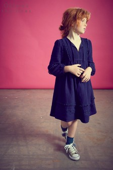 Outside The Lines Blue Navy Trimmed Smock Dress