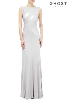 Ghost London Silver Taylor Lake Satin Maxi Dress