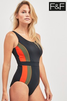 F&F Black/Coral Panel Pool Suit
