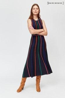Warehouse Black Multi Stripe Knitted Dress