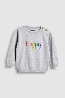 Rainbow Happy Knitted Crew (3mths-6yrs)