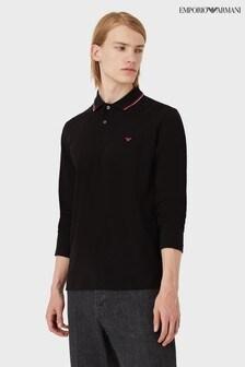 Emporio Armani Long Sleeve Tipped Polo Shirt