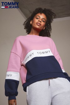 697d4baa530 Tommy Jeans Pink Colourblock Sweater