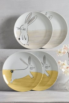 Set of 4 Bunny Side Plates