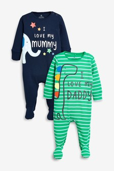 Mummy And Daddy Character Sleepsuits Two Pack (0mths-2yrs)