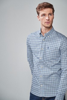Long Sleeve Gingham Stretch Oxford Shirt