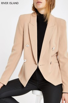 River Island Camel Button Blazer