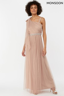 Monsoon Ladies Pink Anouck One Shoulder Maxi Dress