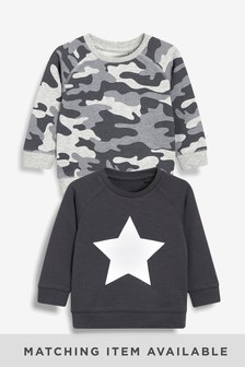 Camouflage/Star Crews Two Pack (3mths-7yrs)