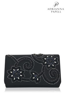Adrianna Papell Black Gold Inis Sequined Envelope Clutch