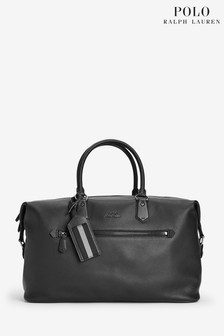 Polo Ralph Lauren Black Premium Leather Weekend Holdall
