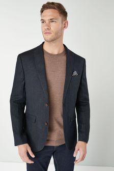 Signature Textured Linen Blend Slim Fit Blazer