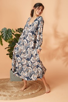 Print Long Sleeve Frill Dress