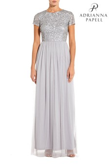 Adrianna Papell Silver Sequin Tulle Dress
