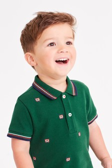 Short Sleeve Embroidered Tiger Polo (3mths-7yrs)