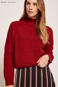 Mint Velvet Red Honeycomb Stitch Knit