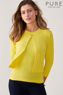 Pure Collection Yellow One Button Cardigan