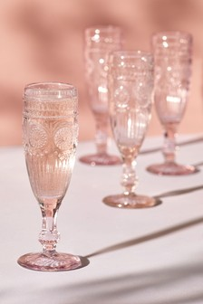 Set of 4 Vintage Embossed Champagne Flutes