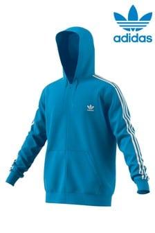 adidas Originals Blue 3 Stripe Zip Through Hoody