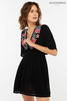 Accessorize Black Rebecca Embroidered Kaftan