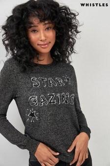 Whistles Grey Star Logo Knit Jumper