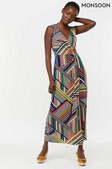 Monsoon Ladies Blue Siani Print Maxi Dress