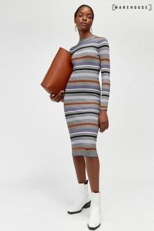 Warehouse Black Multi Stripe Funnel Dress