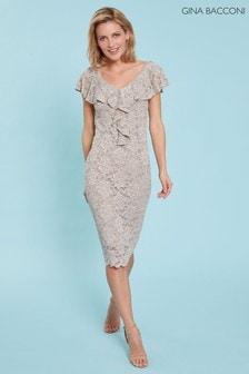 Gina Bacconi Nude Starla Lace Dress With Frill