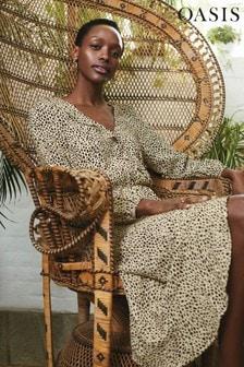 Oasis Animal Sleeved Wrap Midi Dress