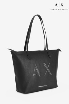 Armani Exchange Black Stud Tote Bag