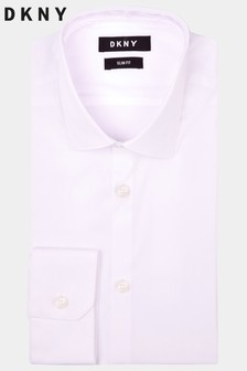 DKNY Slim Fit White Single Cuff Stretch Shirt