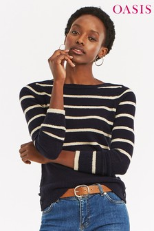 Oasis Blue Kirsty Striped Crew Jumper